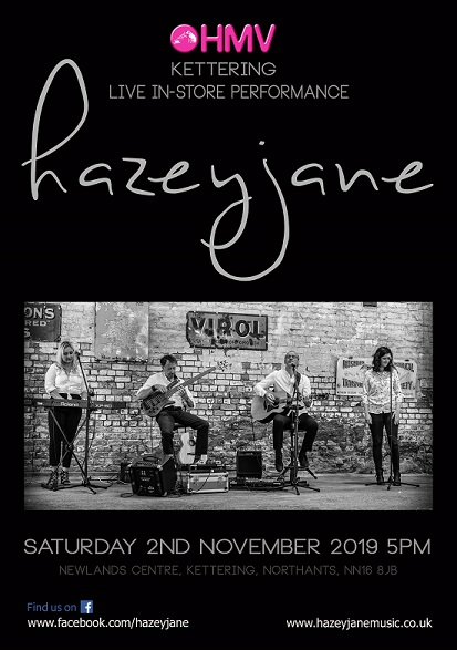 Promo poster for hazeyjane at HMV Kettering, Nov 2019. Photo credit: Chiara Arciero